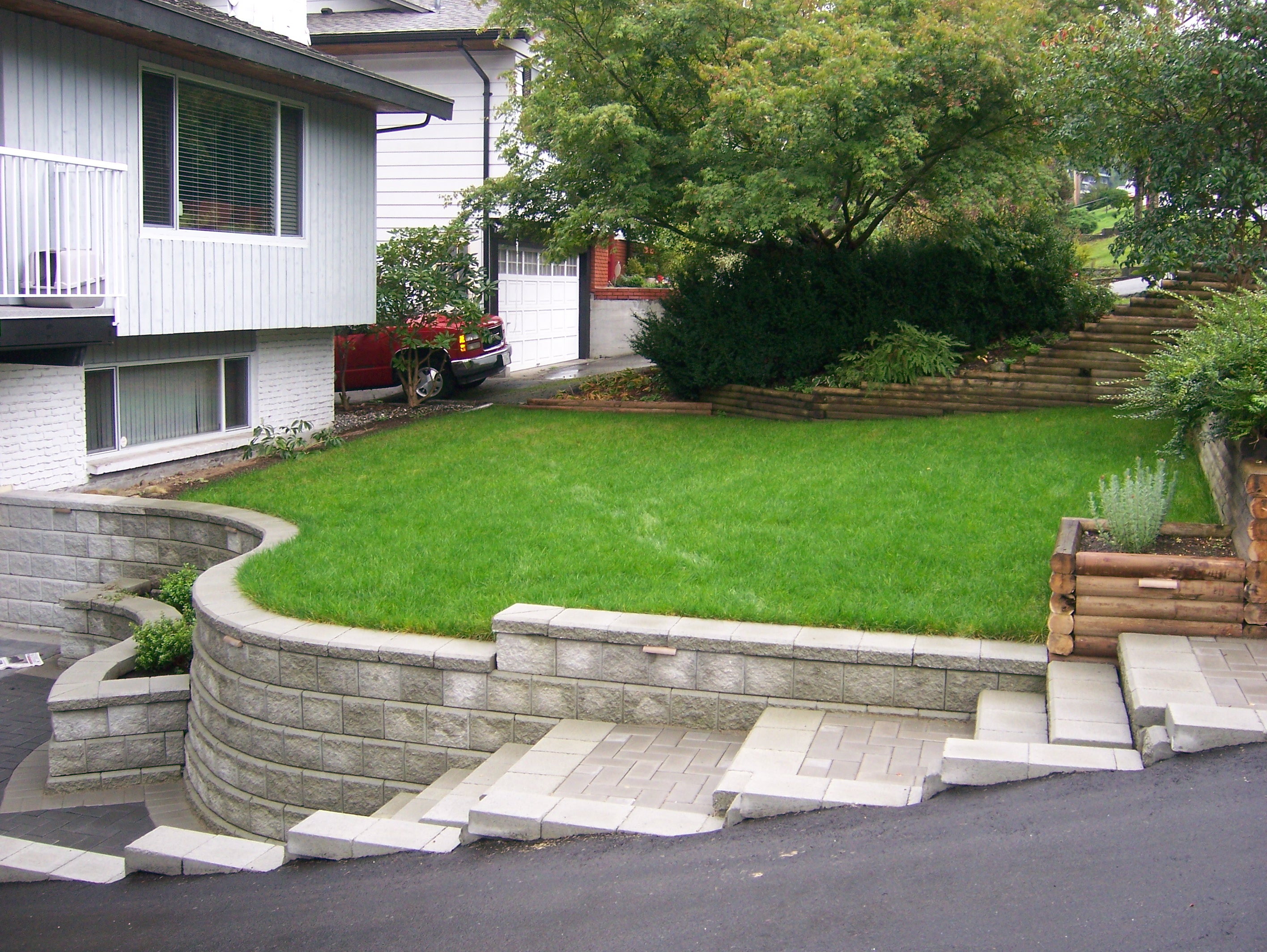 Retaining Wall Installation and Stair Installation