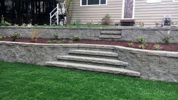 Retaining Wall and Stair Installation
